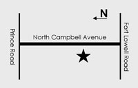 simple map showing NCHP location on Campbell Ave. between Ft. Lowell Rd. and Prince Rd. in Tucson, AZ